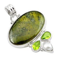 Natural green vasonite peridot 925 sterling silver pendant jewelry m14846