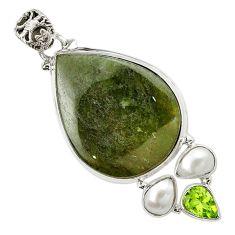 Natural green vasonite peridot pearl 925 sterling silver pendant m14847