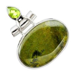 Natural green vasonite peridot 925 sterling silver pendant m14848