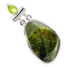 Natural green vasonite peridot 925 sterling silver pendant m14850