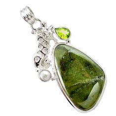 Natural green vasonite peridot pearl 925 silver seahorse pendant m14851
