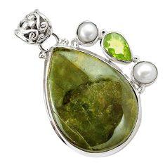 925 sterling silver natural green vasonite peridot pearl pendant m14852