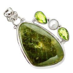 Natural green vasonite peridot 925 sterling silver pendant jewelry m14853