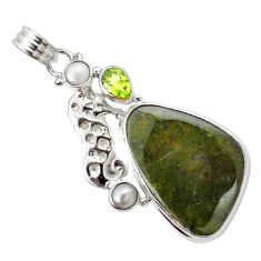 Natural green vasonite peridot pearl 925 silver seahorse pendant m14854