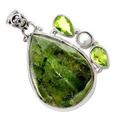 925 sterling silver natural green vasonite peridot pearl pendant m14855