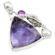 925 sterling silver natural purple tiffany stone amethyst pearl pendant m14958