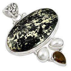 Natural golden pyrite in magnetite (healer's gold) 925 silver pendant m15775