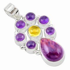 925 silver natural purple cacoxenite super seven (melody stone) pendant m16711