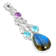 Natural blue labradorite amethyst 925 silver two cats pendant m16821