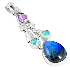 Natural blue labradorite amethyst 925 silver two cats pendant m16823