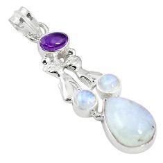 Natural rainbow moonstone purple amethyst 925 silver two cats pendant m16849