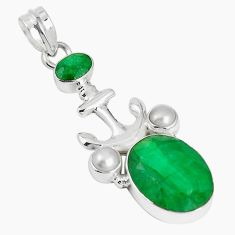 Natural green emerald pearl 925 sterling silver pendant jewelry m16902