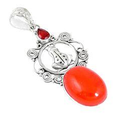 925 silver natural orange cornelian (carnelian) frog pendant jewelry m16980