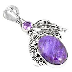 Natural purple charoite (siberian) amethyst 925 silver pendant m17011