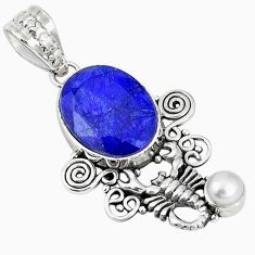 Natural blue sapphire pearl 925 sterling silver scorpion pendant m17095