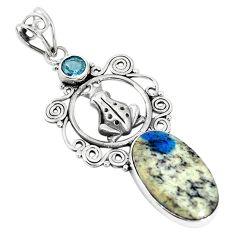 Natural k2 blue (azurite in quartz) 925 silver frog pendant jewelry m17141