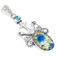 Natural k2 blue (azurite in quartz) topaz 925 sterling silver pendant m17142