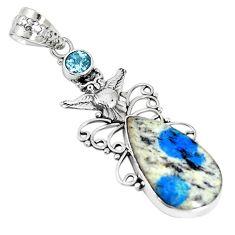 Natural k2 blue (azurite in quartz) topaz 925 silver owl pendant m17145