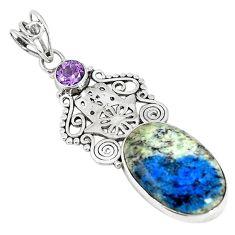 Natural k2 blue (azurite in quartz) 925 silver hand of god hamsa pendant m17148