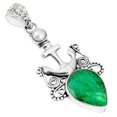 Natural green emerald pearl 925 sterling silver pendant jewelry m17205