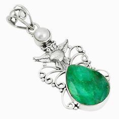 925 sterling silver natural green emerald pearl owl pendant m17212