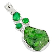 Green chrome diopside rough fancy emerald 925 sterling silver pendant m18988
