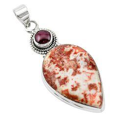 Natural pink rosetta stone jasper garnet 925 silver pendant m20481