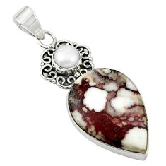 925 silver natural white wild horse magnesite pearl pendant jewelry m20544