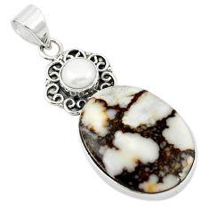 Natural white wild horse magnesite pearl 925 silver pendant jewelry m20550