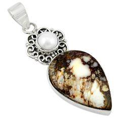 Natural white wild horse magnesite pearl 925 silver pendant jewelry m20551