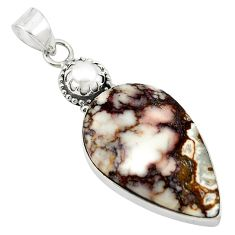 Natural white wild horse magnesite pearl 925 silver pendant jewelry m20553