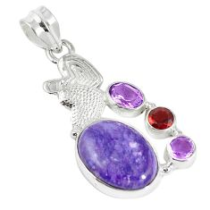 925 silver natural purple charoite (siberian) amethyst garnet pendant m20776