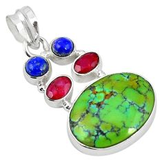 925 sterling silver natural green turquoise tibetan ruby lapis pendant m21584