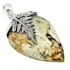 Natural white wild horse magnesite 925 sterling silver pendant m22250