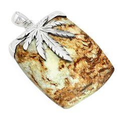 Natural white wild horse magnesite 925 sterling silver pendant m22253