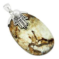 925 silver natural white wild horse magnesite white pearl pendant m22255
