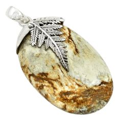 Natural white wild horse magnesite 925 sterling silver pendant jewelry m22258