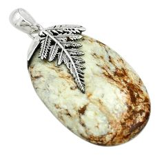 925 sterling silver natural white wild horse magnesite oval pendant m22260