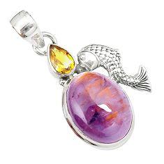 Natural purple cacoxenite super seven 925 silver fish pendant m23388