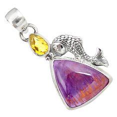 Natural purple cacoxenite super seven 925 silver fish pendant jewelry m23392