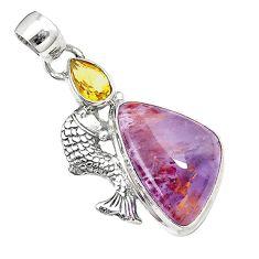 Natural purple cacoxenite super seven 925 silver fish pendant jewelry m23395
