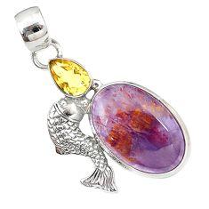 Natural purple cacoxenite super seven 925 silver fish pendant m23396