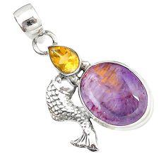 925 sterling silver natural purple cacoxenite super seven fish pendant m23398