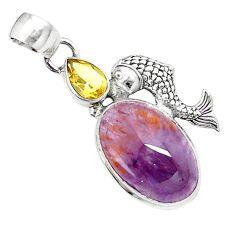 Natural cacoxenite super seven (melody stone) 925 silver fish pendant m23399
