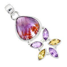 Natural purple cacoxenite super seven (melody stone) 925 silver pendant m23450