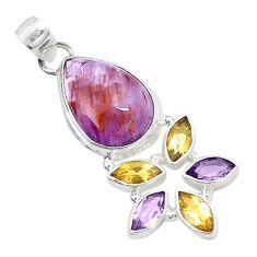 925 silver natural purple cacoxenite super seven (melody stone) pendant m23456