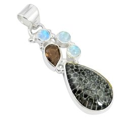 925 silver natural black stingray coral from alaska pendant jewelry m24384