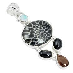 Natural black stingray coral from alaska 925 silver pendant jewelry m24392