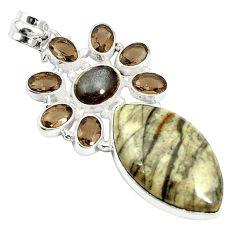 Natural brown mushroom rhyolite moonstone 925 silver pendant m24405