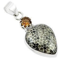 925 silver natural black stingray coral from alaska pendant jewelry m25691